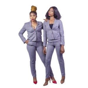 women pant suit grey